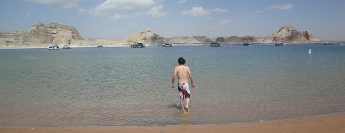 Getting the toes wet at Lake Powell National Park...the reality is I chickened out and didn't go in much futher...