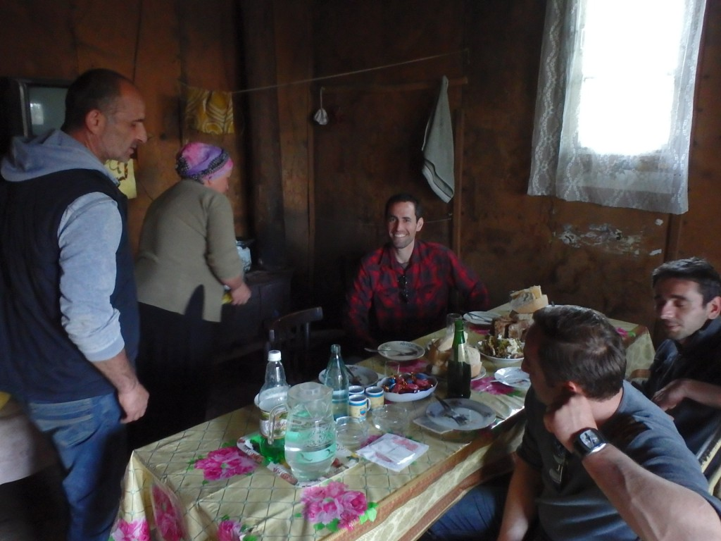 We hiked up to a village that is way off the electric grid, and the father and his wife (the two on left) invited us all in for a meal.  Super nice of them, just wish we hand't eaten less than an hour before.  but still managed to put down a few bites of some of the food they had to offer.  Nearly lost my mind on the tiny sip of his home-made chacha...aka Grappa...slivovice...super high proof indeed.