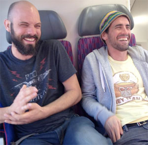 laughing on the train ride with Jonathan yestereday...(there's life after coffee:)